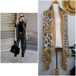 Jungle Animal Print Scarf Sarong Wrap Tapestry